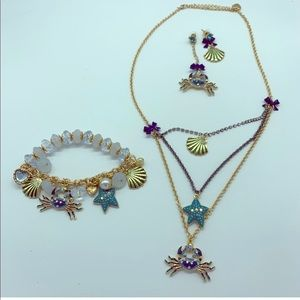 Jewelry - Fashion crab,starfish,seashell jewelry 3 piece set